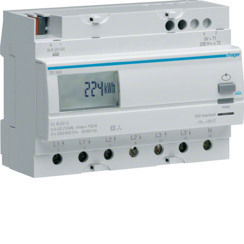 TE360 3Ph Kwhmeter direct 100A KNX output