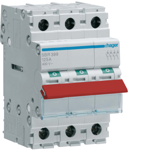 SBR380 3P 80A Switch , Red Toggle