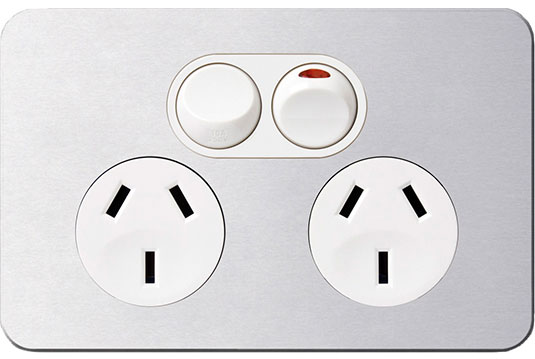 Double Socket - White with Real Aluminium Cover