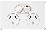 Double Socket - White with Matt White Cover